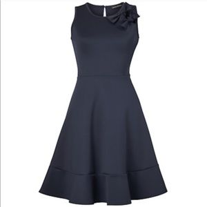 Double Bow Fit & Flare Navy Dress